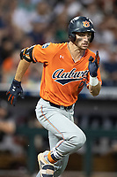 Auburn Tigers third baseman Edouard Julien (10) runs to first base during Game 4 of the NCAA College World Series against the Mississippi State Bulldogs on June 16, 2019 at TD Ameritrade Park in Omaha, Nebraska. Mississippi State defeated Auburn 5-4. (Andrew Woolley/Four Seam Images)