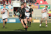 Monday 19th March 2018    Ulster Schools Cup Final 2018<br /> <br /> Conor Rankin gathers this loose ball to race clear and score for Campbell during the 2018 Ulster Schools Cup Final between the Royal School Armagh and Campbell College at Kingspan Stadium, Ravenhill Park, Belfast, Northern Ireland. Photo by John Dickson / DICKSONDIGITAL