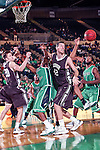 Lehigh Mountain Hawks forward Holden Greiner (20),Lehigh Mountain Hawks forward Gabe Knutson (42) and North Texas Mean Green guard Alzee Williams (3) in action during the game between the Lehigh Mountain Hawks and the North Texas Mean Green at the Super Pit arena in Denton, Texas. Lehigh defeats UNT 90 to 75...