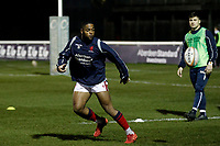 Lennox Anyanwu of London Scottish warming up during the Greene King IPA Championship match between London Scottish Football Club and Nottingham Rugby at Richmond Athletic Ground, Richmond, United Kingdom on 7 February 2020. Photo by Carlton Myrie.