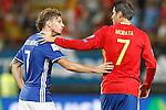 Spain's Alvaro Morata (r) and Liechtenstein's Marcel Buchel after FIFA World Cup 2018 Qualifying Round match. September 5,2016.(ALTERPHOTOS/Acero)
