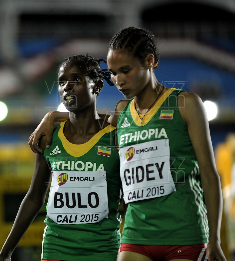 CALI - COLOMBIA - 15-07-2015:  Shuru Bulo, de Etiopia Medalla de oro en la prueba de los 3000 metros Damas, en el estadio Pascual Guerrero sede, sede del IX campeonato Mundial de Atetismo Juvenil 2015.  / Shuru Bulo, of Ethiopia gold medal in the test of the 3000 meters Girls, in the Pascual Guerrero home of the IX World Youyh Campionshps -2015. Photos: VizzorImage / Luis Ramirez / Staff.