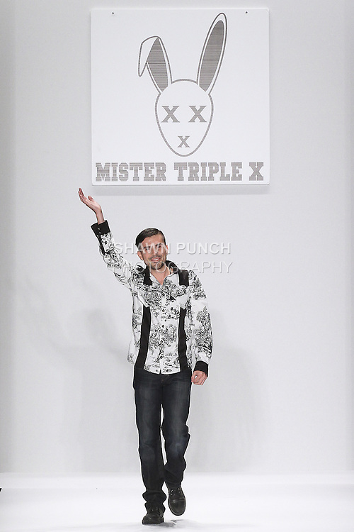 """Fashion designer Erik Rosete thanks audience for attending his Mister Triple X: SS2015 """"Pair-A-Dice"""" Collextion fashion show, during the Art Hearts Fashion Spring 2015 fashion show, during Mercedes-Benz Fashion Week Spring 2015 in New York City."""