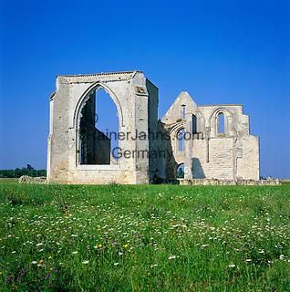 France, Poitou-Charentes, Charente-Maritime, Île de Ré (also named Ré la Blanche): Ruined Abbey Notre-Dame-de-Ré, named Les Châteliers, a former Cistercian abbey | Frankreich, Poitou-Charentes, Charente-Maritime, Île de Ré (auch genannt Ré la Blanche, Ré die Weisse): Ruinen der Abtei Notre-Dame-de-Ré, genannt Les Châteliers, ein ehemaliges Zisterzienserkloster