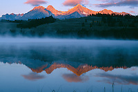 Sawtooth Range from Little Redfish Lake <br /> Sawtooth National Recreation Area<br /> Sawtooth National Forest<br /> Rocky Mountains,  Idaho