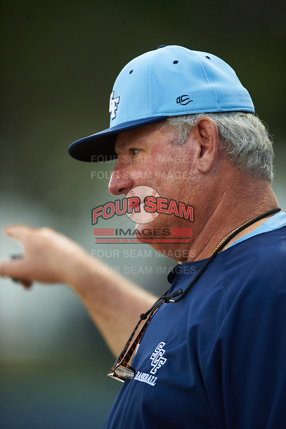 SCF Manatees pitching coach Don Robinson talks with starting pitcher Brendon Little (not shown) during a game against the College of Central Florida Patriots on February 8, 2017 at Robert C. Wynn Field in Bradenton, Florida.  SCF defeated Central Florida 6-5 in eleven innings.  (Mike Janes/Four Seam Images)