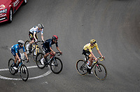 yellow jersey / GC leader Tadej Pogacar (SVN/UAE-Emirates) checking the competition up Luz Ardiden, consisting here of; Richard Carapaz (ECU/INEOS Grenadiers), Jonas Vingegaard (DEN/Jumbo-Visma) & Enric Mas (ESP/Movistar)<br /> <br /> Stage 18 from Pau to Luz Ardiden (130km)<br /> 108th Tour de France 2021 (2.UWT)<br /> <br /> ©kramon