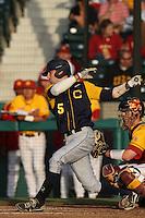 Derek Campbell #5 of the California Bears bats against the USC Trojans at Dedeaux Field on April 5, 2012 in Los Angeles,California. California defeated USC 5-4.(Larry Goren/Four Seam Images)