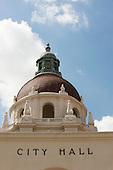 Tiled dome and cupola on the City Hall, Pasadena, California, USA.