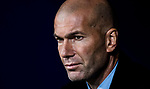 Manager Zinedine Zidane of Real Madrid looks on prior to the La Liga 2017-18 match between Atletico de Madrid and Real Madrid at Wanda Metropolitano  on November 18 2017 in Madrid, Spain. Photo by Diego Gonzalez / Power Sport Images