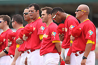 Team Spain  during the national anthem before a game against Team Israel during the World Baseball Classic preliminary round at Roger Dean Stadium on September 21, 2012 in Jupiter, Florida. Team Israel defeated Team Spain 4-2. (Stacy Jo Grant/Four Seam Images)