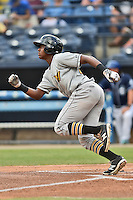 West Virginia Power third baseman Ke'Bryan Hayes (22) runs to first during a game against the Asheville Tourists at McCormick Field on June 23, 2016 in , North Carolina. The Tourists defeated the Power 3-2. (Tony Farlow/Four Seam Images)
