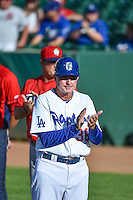 Ogden Raptors manager John Shoemaker (36) before the game against the Orem Owlz in Pioneer League action at Lindquist Field on June 18, 2015 in Ogden, Utah.  This was Opening Night play of the 2015 Pioneer League season. (Stephen Smith/Four Seam Images)