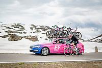 Julius van den Berg (NED/EF Education - Nippo) getting a sticky candy up the Passo San Bernardino (2065m/SUI)<br /> <br /> 104th Giro d'Italia 2021 (2.UWT)<br /> Stage 20 (through Switzerland) from Verbania to Valle Spluga-Alpe Motta (164km)<br /> <br /> ©kramon