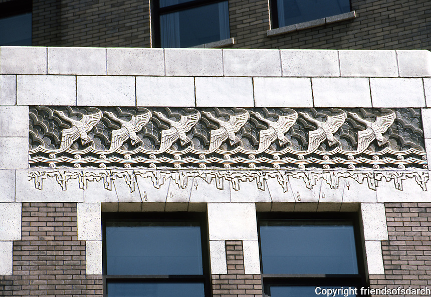 Vancouver: Marine Building--detail of low cornice. Hastings Street side.  Photo '86.