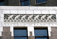 Vancouver: Marine Building--detail of low cornice. Hastings Street side.  Photo '86.