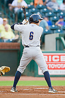 Jake Cave (6) of the Charleston RiverDogs at bat against the Greensboro Grasshoppers at NewBridge Bank Park on July 17, 2013 in Greensboro, North Carolina.  The Grasshoppers defeated the RiverDogs 4-3.  (Brian Westerholt/Four Seam Images)