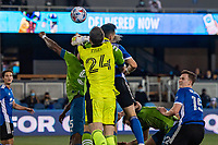 SAN JOSE, CA - MAY 12: Stefan Frei #24 of the Seattle Sounders punches the ball during a game between San Jose Earthquakes and Seattle Sounders FC at PayPal Park on May 12, 2021 in San Jose, California.