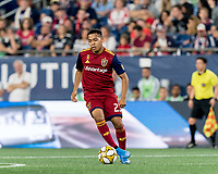 FOXBOROUGH, MA - SEPTEMBER 21: Sebastian Saucedo #23 of Real Salt Lake passes the ball during a game between Real Salt Lake and New England Revolution at Gillette Stadium on September 21, 2019 in Foxborough, Massachusetts.