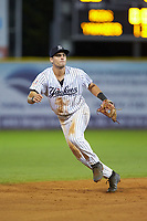 Pulaski Yankees shortstop Max Burt (17) on defense against the Greeneville Reds at Calfee Park on June 23, 2018 in Pulaski, Virginia. The Reds defeated the Yankees 6-5.  (Brian Westerholt/Four Seam Images)