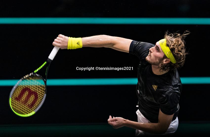 Rotterdam, The Netherlands, 4 march  2021, ABNAMRO World Tennis Tournament, Ahoy, First round match: Stefanos Tsitsipas (GRE).<br /> Photo: www.tennisimages.com/