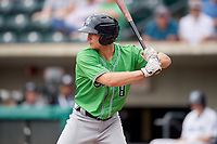 Gwinnett Stripers catcher Rob Brantly (8) at bat during a game against the Columbus Clippers on May 17, 2018 at Huntington Park in Columbus, Ohio.  Gwinnett defeated Columbus 6-0.  (Mike Janes/Four Seam Images)