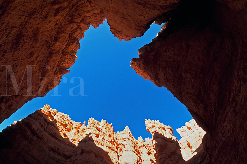 Looking straight up at the sky and rock formations on the Navajo Loop walking trail in Bryce Canyon National Park. Utah.