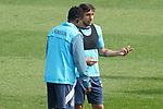 Getafe CF's Djene Dakonam and Damian Suarez during training session. February 17, 2021.(ALTERPHOTOS/Acero)