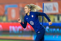 BREDA, NETHERLANDS - NOVEMBER 27: Kristie Mewis #22 of the USWNT warms up before a game between Netherlands and USWNT at Rat Verlegh Stadion on November 27, 2020 in Breda, Netherlands.