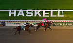 July 20, 2019 : Maximum Security #7, ridden by Luis Saez, wins the Haskell Invitational on Haskell Invitational Day at Monmouth Park Race Course in Oceanport, New Jersey. Karina Serio/Eclipse Sportswire/CSM