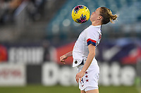JACKSONVILLE, FL - NOVEMBER 10: Emily Sonnett #14 of the United States traps the ball during a game between Costa Rica and USWNT at TIAA Bank Field on November 10, 2019 in Jacksonville, Florida.