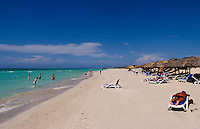 Beautiful blue water and beaches of Cubas best beach called Varadero in Cuba
