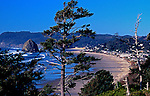 Famous Cannon Beach on Oregon Coast, a wonderful small town to vacation or practice the arts.  View from Highway 101.
