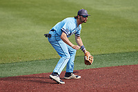 Old Dominion Monarchs shortstop Tommy Bell (11) on defense against the Charlotte 49ers at Hayes Stadium on April 25, 2021 in Charlotte, North Carolina. (Brian Westerholt/Four Seam Images)