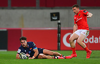 10th October 2020; Thomond Park, Limerick, Munster, Ireland; Guinness Pro 14 Rugby, Munster versus Edinburgh; Damien Hoyland of Edinburgh chases down a ball in his own end zone