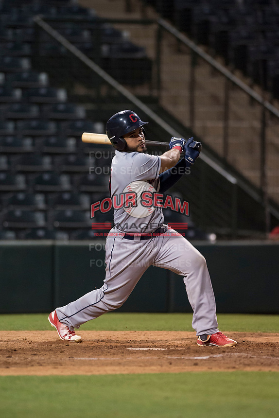 AZL Indians 2 catcher Felix Fernandez (9) follows through on his swing during an Arizona League game against the AZL Angels at Tempe Diablo Stadium on June 30, 2018 in Tempe, Arizona. The AZL Indians 2 defeated the AZL Angels by a score of 13-8. (Zachary Lucy/Four Seam Images)