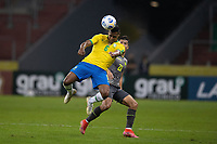 4th June 2021; Beira-Rio Stadium, Porto Alegre, Brazil; Qatar 2022 qualifiers; Brazil versus Ecuador; Alex Sandro of Brazil wins the header from Alan Franco of Ecuador