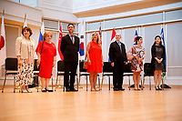 Members of the jury stand for recognition during the opening ceremony of the 11th USA International Harp Competition at Indiana University in Bloomington, Indiana on Wednesday, July 3, 2019. Pictured from left are: Skaila Kanga, Milda Agazarian, Sylvain Blassel, Jana Bouskova, Mario Falcao, Anneleen Lenaerts and Dan Yu. (Photo by James Brosher)