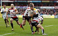 Photo: Richard Lane/Richard Lane Photography. Gloucester Rugby v Wasps. Aviva Premiership. 05/03/2016. Wasps' Frank Halai is tackled by Gloucester's Charlie Sharples and Billy Burns.