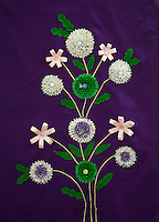 Indian Handicrafts, Flowers on Fabric.  Dehradun, India.