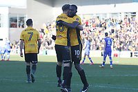Mickey Demetriou join Frank Nouble of Newport County as he celebrates scoring his sides first goal of the match to equalise with Leeds after his cross deflected off Conor Shaughnessy of Leeds United the Fly Emirates FA Cup Third Round match between Newport County and Leeds United at Rodney Parade, Newport, Wales, UK. Sunday 07 January 2018
