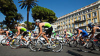16 SEP 2012 - NICE, FRA - Aaron Royle (second from left) of Team Triathlon Baie de Somme begins a new lap on the bike during the final stage of the French Grand Prix triathlon series held during the Triathlon de Nice Côte d'Azur (PHOTO (C) 2012 NIGEL FARROW)