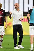 Stefano Pioli coach of AC Milan reacts prior to the Serie A football match between AC Milan and Atalanta BC at stadio Giuseppe Meazza in Milano ( Italy ), July 24th, 2020. Play resumes behind closed doors following the outbreak of the coronavirus disease. <br /> Photo Image Sport / Insidefoto