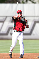 Salem-Keizer shortstop Joe Panik #12 before game against the Eugene Emeralds at Volcanoes Stadium on August 9, 2011 in Salem-Keizer,Oregon. Eugene defeated Salem-Keizer 13-7.(Larry Goren/Four Seam Images)