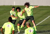 Neymar, Marcelo and David Luiz of Brazil joke around during training ahead of tomorrow's World Cup quarter final vs Colombia