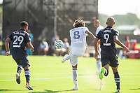 LAKE BUENA VISTA, FL - JULY 9: Jose Martinez #8 of the Philadelphia Union kicking the ball during a game between New York City FC and Philadelphia Union at Wide World of Sports on July 9, 2020 in Lake Buena Vista, Florida.
