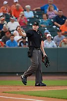 Umpire Mitch Leikam during a South Atlantic League game between the Greensboro Grasshoppers and Delmarva Shorebirds on August 21, 2019 at Arthur W. Perdue Stadium in Salisbury, Maryland.  Delmarva defeated Greensboro 1-0.  (Mike Janes/Four Seam Images)