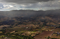 aerial photograph rain showers along the Silverado Trail and Atlas Mountains, Napa Valley,  Napa County, California