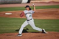 Augusta GreenJackets relief pitcher Lisandro Santos (24) in action against the Charleston Boiled Peanuts at Joseph P. Riley, Jr. Park on June 26, 2021 in Charleston, South Carolina. (Brian Westerholt/Four Seam Images)