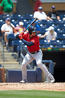 Trayce Thompson (24) of the Columbus Clippers at bat against the Durham Bulls at Durham Bulls Athletic Park on June 1, 2019 in Durham, North Carolina. The Bulls defeated the Clippers 11-5 in game one of a doubleheader. (Brian Westerholt/Four Seam Images)